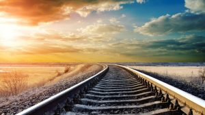 Colorful-Sky-Over-Train-Tracks-Wallpapers